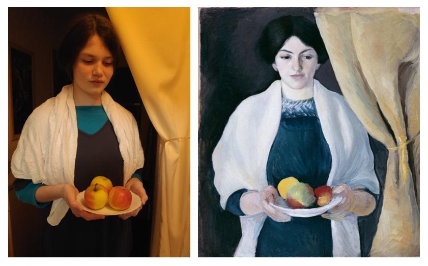 8-SO-August-Macke-Portrait-mit-Aepfeln
